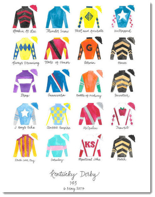 Kentucky Derby Silks Hand Painted Print